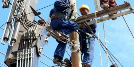 File image of Kenya Power technicians making repairs