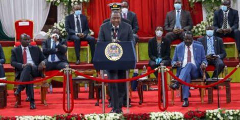 President Uhuru Kenyatta speaking at the BBI launch at Bomas of Kenya in Nairobi on October 26, 2020.