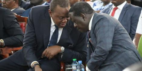 President Uhuru Kenyatta (left) nd ODM leader Raila Odinga during a previous meeting