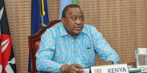 President Uhuru Kenyatta speaking on Thursday, April 8, at State House, Nairobi when he delivered the opening statement during a virtual town hall meeting of the OACPS.
