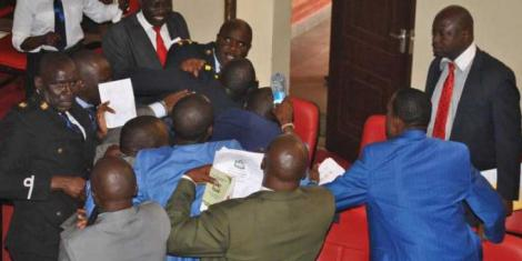 Members of the Kakamega County Assembly engaged in a fistfight in July 2018.