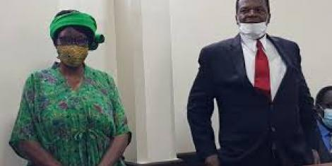 Grace Wakhungu and Sirisia MP John Waluke during their sentencing for fraud on June 25, 2020 at the Milimani law courts