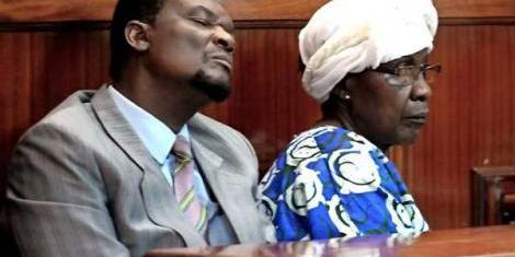 Sirisia MP John Waluke and Grace Wakhungu in court.